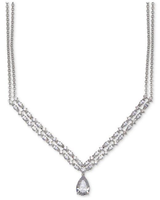 Arabella | Metallic Swarovski Crystal Double-layer Pendant Necklace In Sterling Silver | Lyst