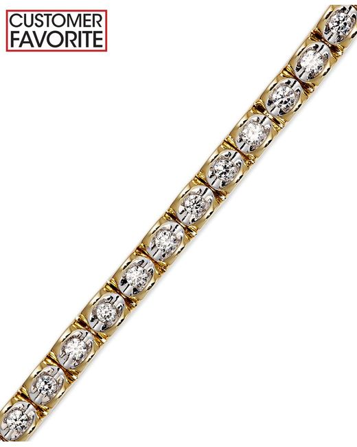 Macy S Diamond Bracelet 1 1 8 Ct T W In 14k Gold In