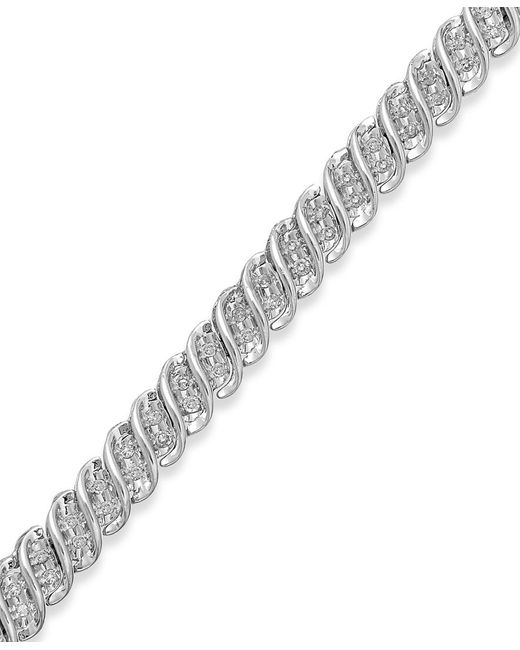 Macy's | Diamond S-link Bracelet In 10k Gold Or White Gold (1/2 Ct. T.w.) | Lyst