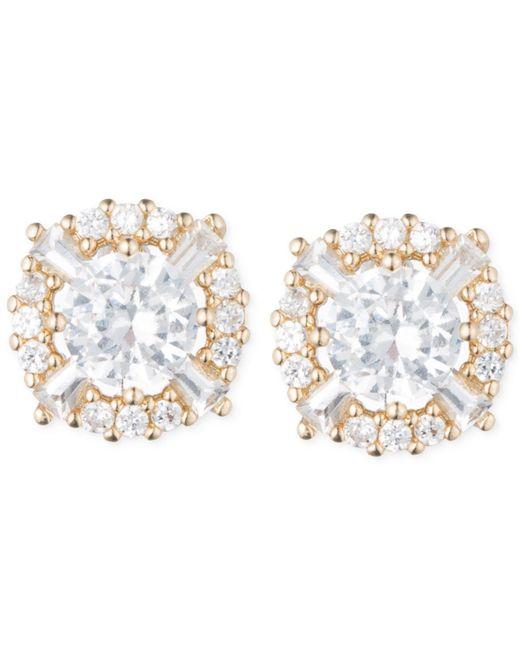Anne Klein   Metallic Elevated Crystal Round Stud Earrings   Lyst