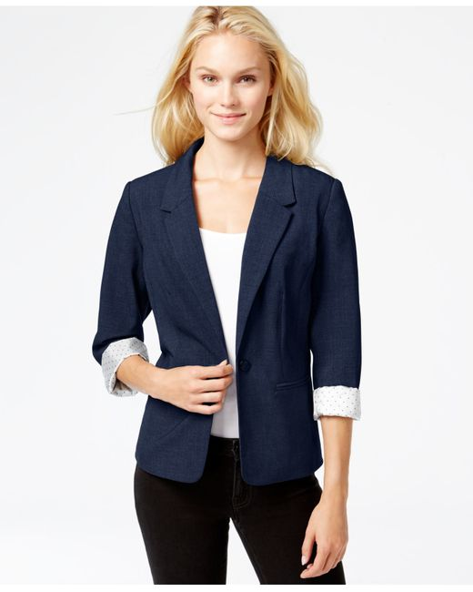 Kensie | Blue Long-sleeve Faux-pocket Blazer | Lyst