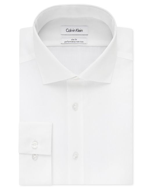 Calvin Klein | White Steel Men's Slim-fit Non-iron Performance Solid Dress Shirt for Men | Lyst