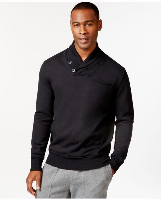 Sean John | Black Alpha Two-button Shawl Collar Sweatshirt for Men | Lyst