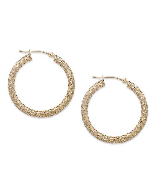 Macy's - Metallic 14k Gold Earrings, Diamond Cut Hoop Earrings, 1 1/3 Inch - Lyst