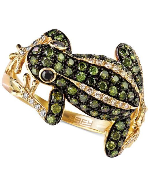 Effy Collection - White (1/8 Ct. T.w.) And Green (3/4 Ct. T.w.) Diamond Frog Ring In 14k Gold - Lyst