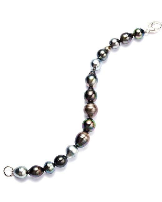 Macy's | Black Sterling Silver Bracelet, Multicolor Cultured Tahitian Pearl Baroque Bracelet (9-11mm) | Lyst