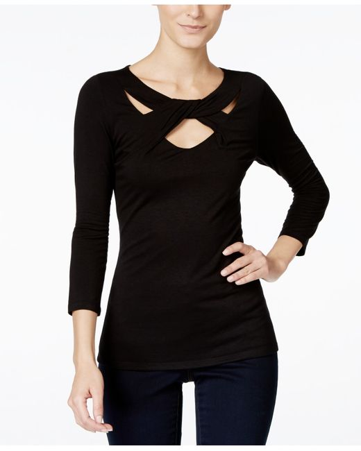 INC International Concepts | Black Three-quarter-sleeve Cutout Top, Only At Macy's | Lyst
