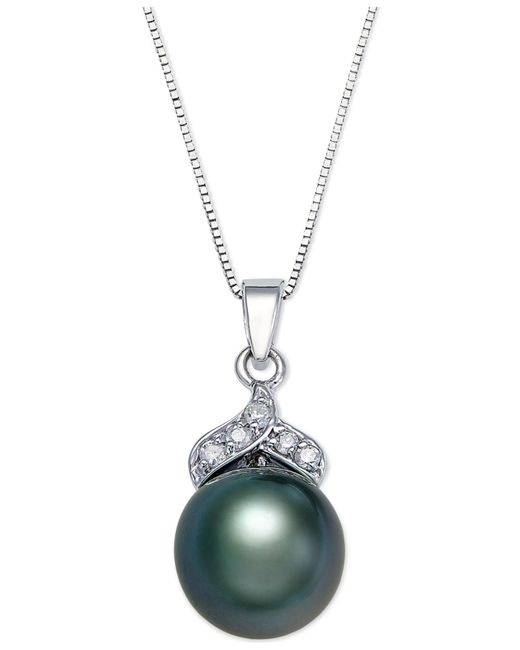 Macy's - Metallic Tahitian Pearl (9mm) And Diamond Accent Pendant Necklace In 14k White Gold - Lyst