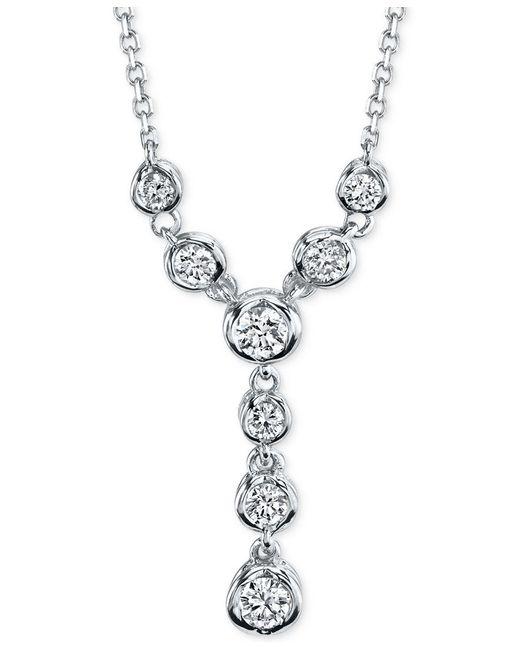 Macy's | Metallic Sirena Diamond Lariat Necklace (1/4 Ct. T.w.) In 14k White Or Yellow Gold | Lyst