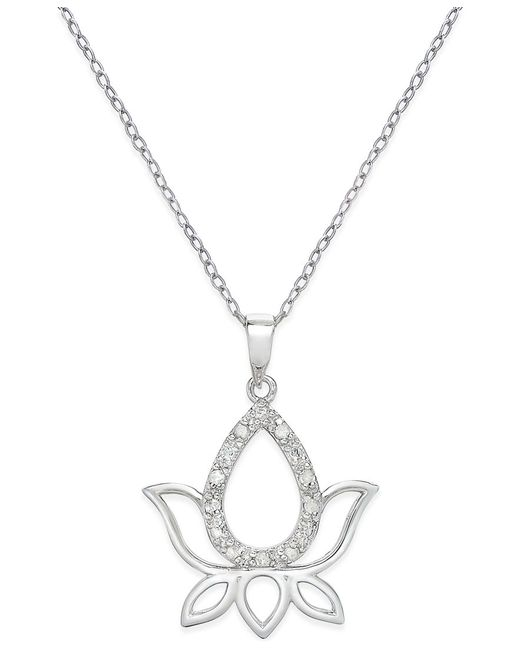 Macy S Diamond Lotus Pendant Necklace 1 10 Ct T W In Sterling Silver In Silver Save 50 Lyst