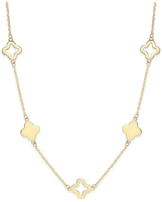 Macy's | Metallic Clover Necklace In 14k Gold | Lyst