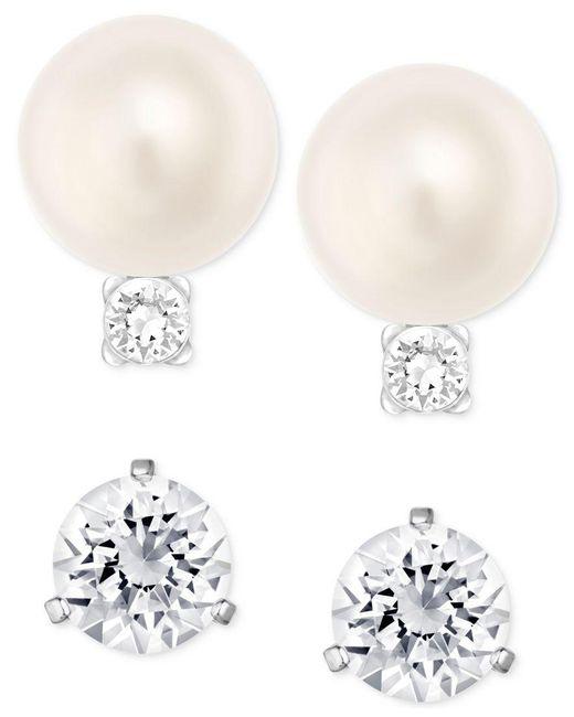 Swarovski | Metallic Silver-tone Imitation Pearl And Crystal Stud Earring Set | Lyst