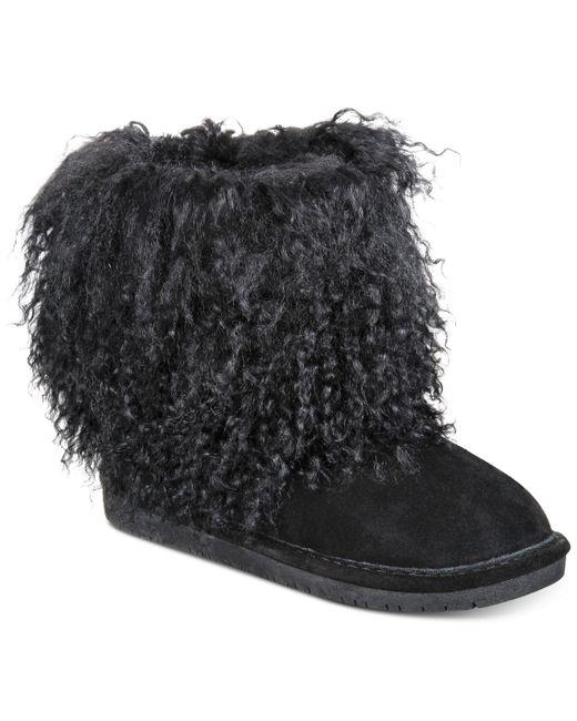 BEARPAW | Black Women's Boetis Ii Curly Lamb Boot | Lyst