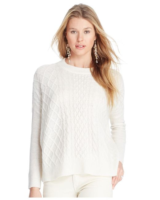 Polo Ralph Lauren | White Cabled Wool-blend Sweater | Lyst