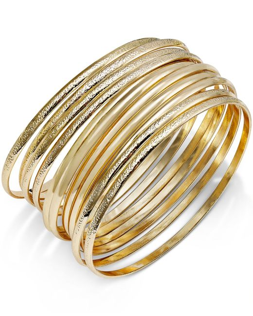 INC International Concepts | Metallic Gold-tone Textured Bangle Bracelet Set | Lyst