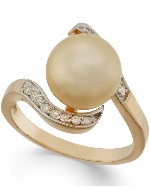 Macy's | Metallic Golden South Sea Pearl (10mm) And Diamond Ring In 14k Gold | Lyst