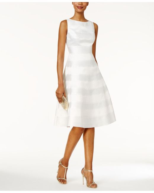 Adrianna Papell - White Striped Fit & Flare Dress - Lyst