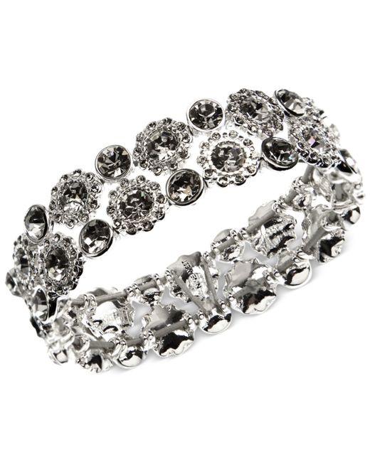 Nine West | Metallic Silver-tone Crystal Stretch Bracelet | Lyst