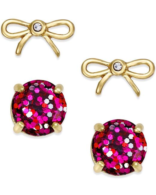 kate spade new york | Pink Gold-tone Glitter And Bow Stud Earring Set | Lyst