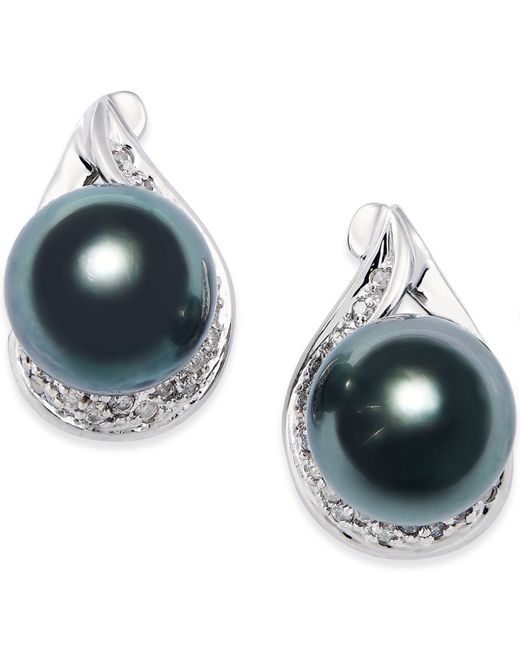 Macy's | Cultured Tahitian Black Pearl (9mm) And Diamond (1/6 Ct. T.w.) Earrings In 14k White Gold | Lyst