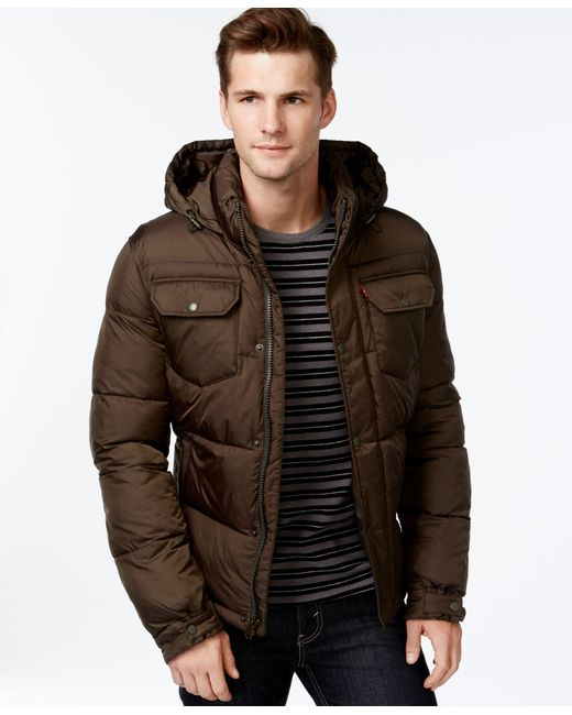 Levi's | Green Hooded Puffer Jacket for Men | Lyst