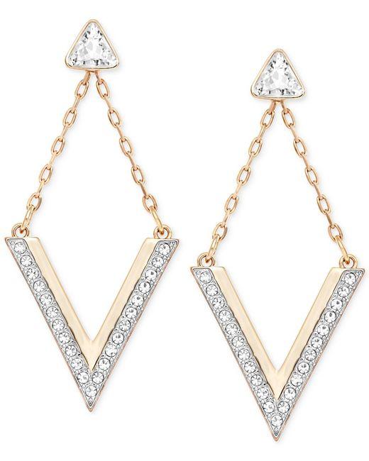 Swarovski | Metallic Rose Gold-tone Crystal Chevron Drop Earrings | Lyst