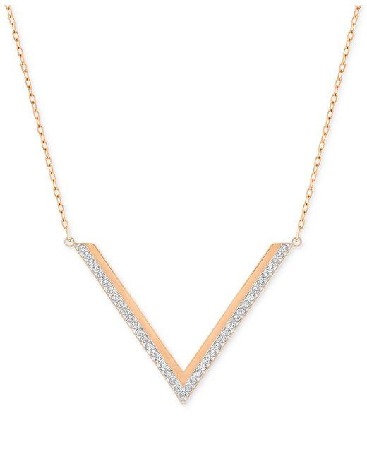 Swarovski   Metallic Rose Gold-tone Crystal Chevron Necklace   Lyst