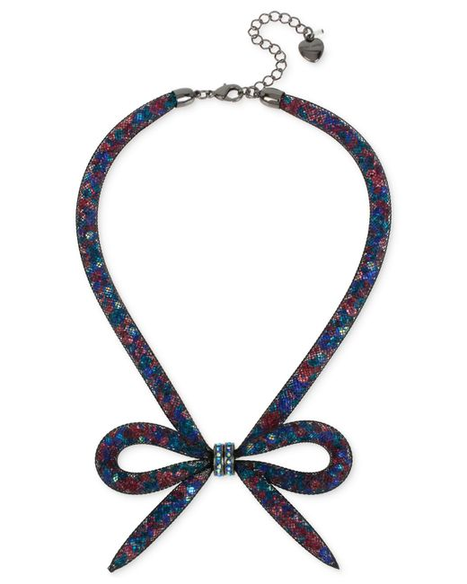 Betsey Johnson | Blue Hematite-tone Mesh Bow Collar Necklace | Lyst