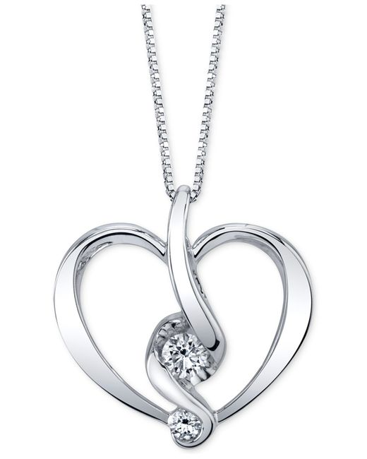Proud Mom   Metallic Diamond Heart Pendant Necklace (1/5 Ct. T.w.) In 14k Gold Or White Gold   Lyst