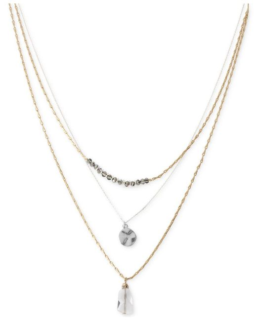 Kenneth Cole | Metallic Two-tone Layer Pendant Necklace | Lyst