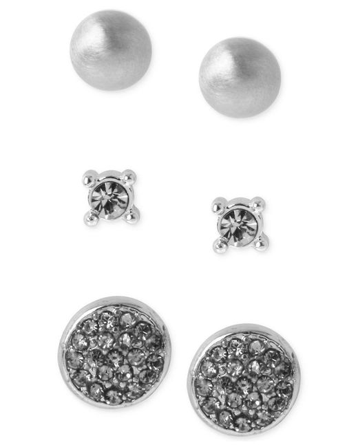 Kenneth Cole | Metallic Silver-tone Trio Stud Earring Set | Lyst