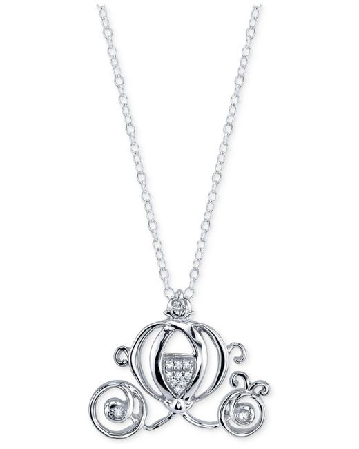 Disney | Metallic Diamond Accent Cinderella Pendant Necklace In Sterling Silver | Lyst