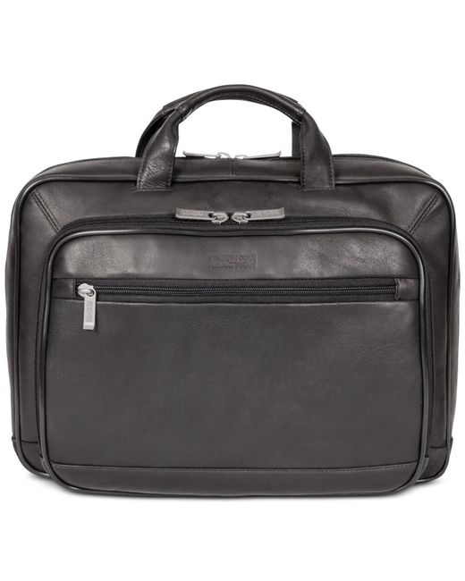 "Kenneth Cole Reaction | Black Point Of De-port-ure Columbian Leather 16"" Computer Portfolio for Men 