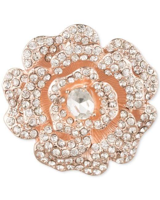 Anne Klein | Pink Rose Gold-tone Crystal Flower Brooch | Lyst
