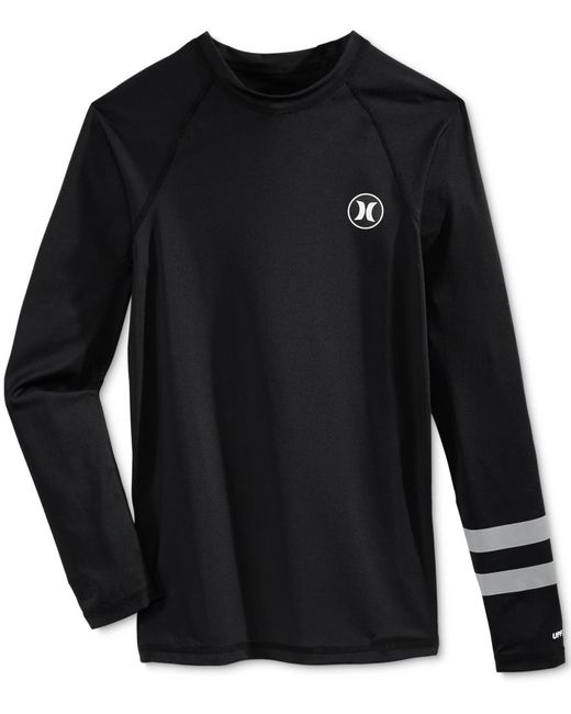 Hurley Men 39 S Rash Guard Logo Shirt In Black For Men Lyst