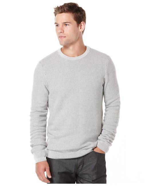 Perry Ellis | Gray Textured Crew-neck Sweater for Men | Lyst