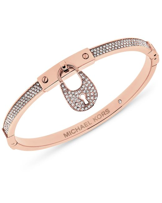 Michael Kors | Metallic Silver-tone & Pavé Crystal Accented Bracelet | Lyst