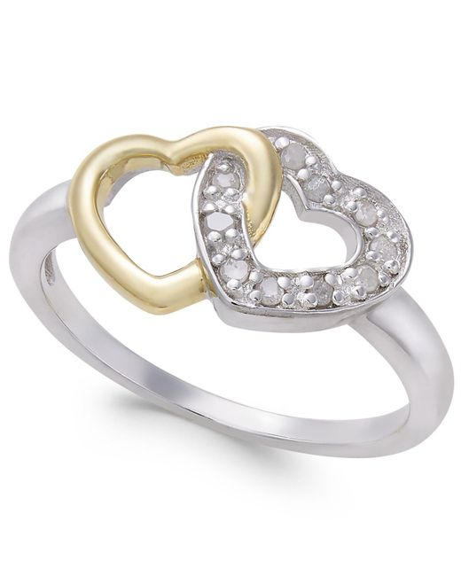 Macy's - Metallic Diamond Two-tone Interwined Heart Ring (1/10 Ct. T.w) In Sterling Silver And 14k Gold-plate - Lyst
