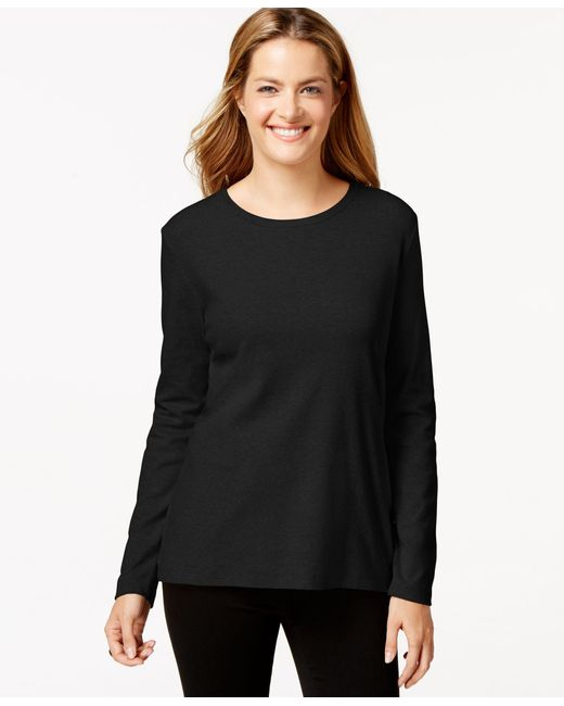 Style & Co.   Black Crew-neck Top, Only At Macy's   Lyst
