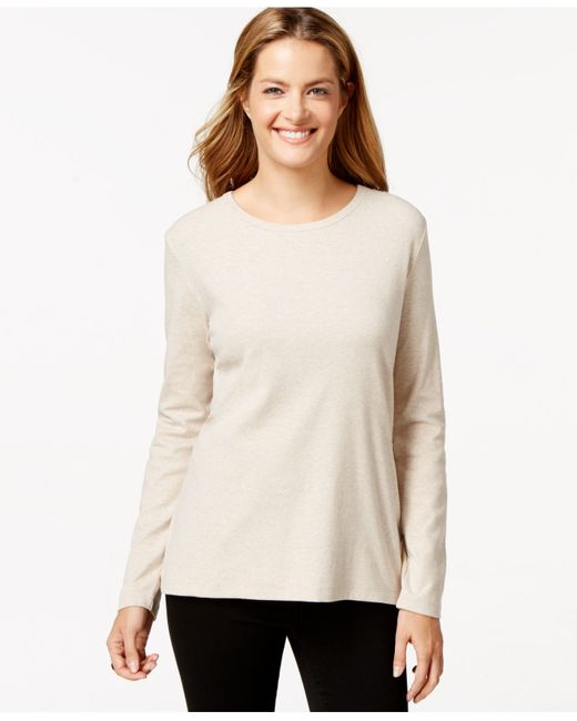 Style & Co. | Natural Long-sleeve Crew-neck T-shirt | Lyst