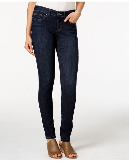 Eileen Fisher | Blue Low-rise Skinny Jeans, Black Wash | Lyst