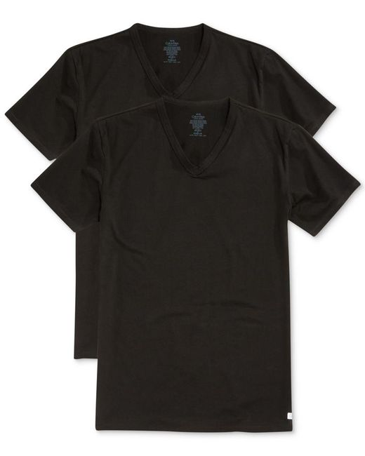 Calvin Klein | Black Men's Big And Tall Classic V-neck Undershirt 2 Pack Nu8581 for Men | Lyst