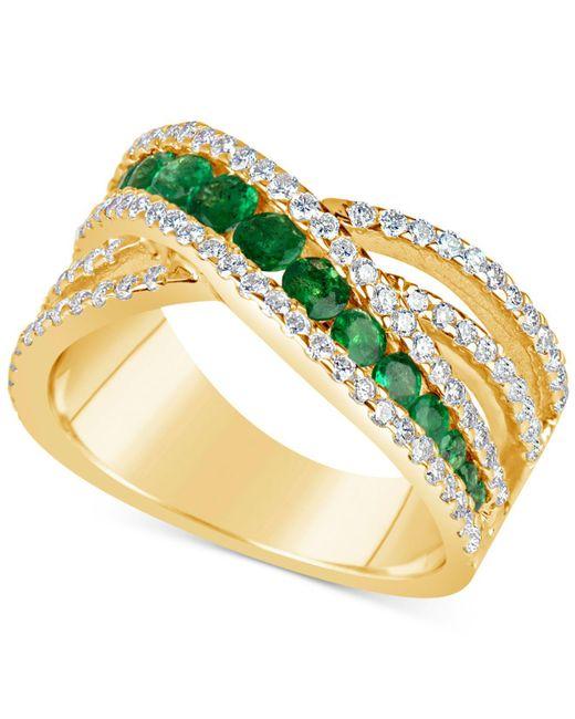 Macy's   Metallic Emerald (9/10 Ct. T.w.) And Diamond (3/4 Ct. T.w.) Crisscross Ring In 14k Gold   Lyst