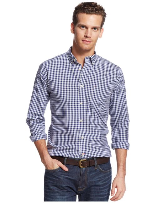Tommy Hilfiger | Blue Men's Long-sleeve Twain Check Classic Fit Shirt for Men | Lyst