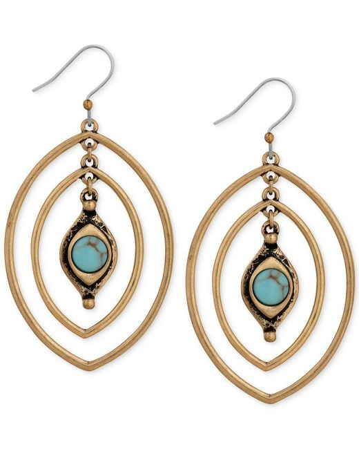 Lucky brand gold tone turquoise look stone triple hoop for Macy s lucky brand jewelry
