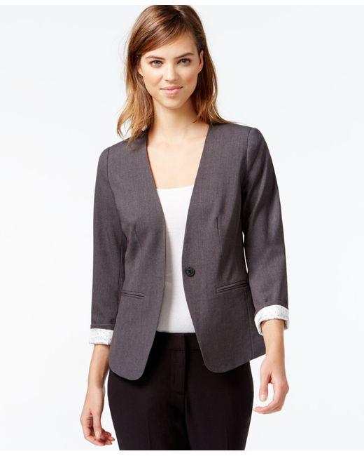 Kensie   Gray Three-quarter-sleeve Collarless Blazer   Lyst