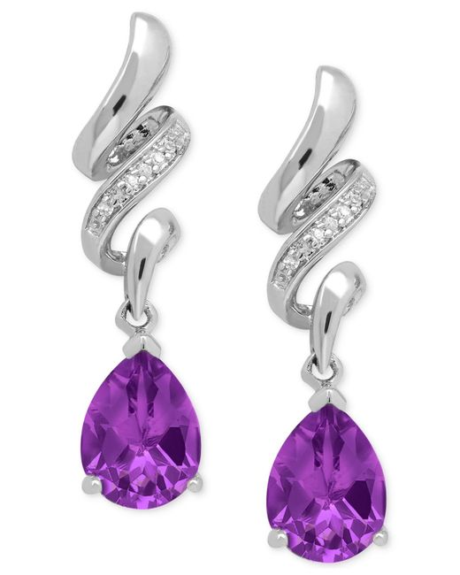 Macy's | Metallic Amethyst (1-9/10 Ct. T.w.) And Diamond Accent Squiggle Earrings In Sterling Silver | Lyst
