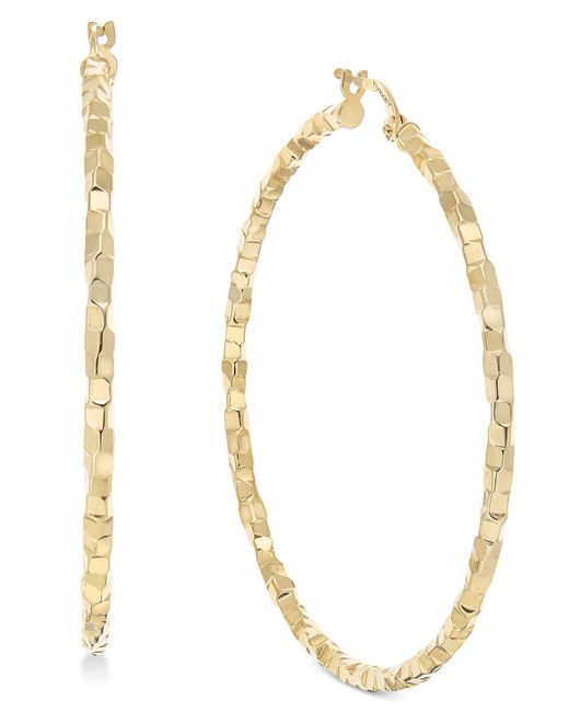 Macy's - Metallic Skinny Square Textured Polished Hoop Earrings In 14k Gold - Lyst