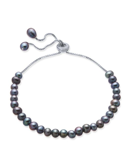 Macy's - Metallic Gray Cultured Freshwater Pearl (4mm) Bolo Bracelet In Sterling Silver - Lyst