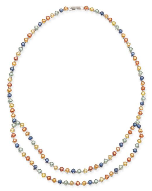Macy's - Metallic Multi-sapphire (40 Ct. T.w.) Double Row Collar Necklace In Sterling Silver - Lyst